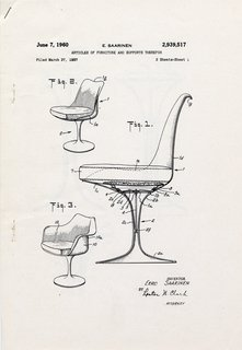 Events this Weekend: 1.28-1.31 - Photo 3 of 15 - Patent drawing for pedestal chairs (1960) by Eero Saarinen, on display at the Museum of the City of New York through January 31, 2010. Image courtesy of the Eero Saarinen Collection at Yale University and the Finnish Cultural Institute in New York.