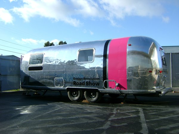 "The star of the Design Revolution Road Show is Pilloton and her partner's vintage Airstream trailer. ""The Airstream is just awesome. The exhibition turned out really great, the products are fascinating, and the trailer has a big pink stripe that you can't not look at,"" she says."