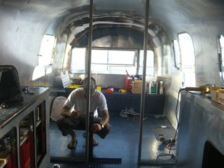 "Pilloton's partner, Matt, has owned the vintage Airstream for ten years and had gutted it a few years back. To prep for the tour, they refinished the entire interior. ""The transformation has been amazing, partially because we have been living and working out of the Airstream while doing the renovation,"" Pilloton says."