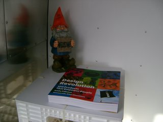 "Just inside the Airstream is Pilloton's ""welcome gnome"" and a copy of Design Revolution: 100 Products that Empower People."
