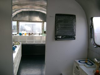 The interior of the Airstream, where the Design Revolution exhibition will be on display.