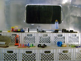 "Here, a shot of the exhibition space inside the Airstream. ""I am incredibly excited about our high school stops, which we initially hadn't planned on,"" Pilloton says. ""We added them for a few reasons: When we end up in rural North Carolina, we'll be teaching a design-build program in the high school there, so on a personal level I'm interested in gauging how design can inspire teenagers. But I also believe that design is a capacity that most high schoolers don't consider as a skill."""