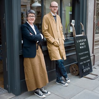 "Rachel Wythe-Moran and Simon Watkins filed papers to launch Labour and Wait in 2000 and were selling goods the next year. The store name is derived from a poem by Longfellow. ""We liked the idea of two words; it sounds like two people's names,"" Watkins says. ""Plus, the shop's about doing work and waiting for the results."""