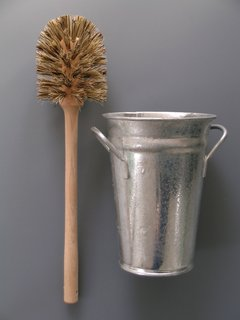 "Toilet Brush and Bucket ""We created this combination as it was impossible to find an attractive and functional toilet set. We like the functional look of the traditional florist's Bucket and traditional wooden brush."" Photo courtesy of Labour and Wait."