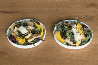 Arthur created the fresh pumpkin salad based on farmers' market finds.