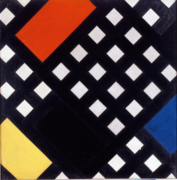 Counter-Composition XV (1925) by Theo van Doesburg. On display at the Tate Modern in London through May 16, 2010, as part of the Van Doesburg and the International Avant-Garde: Constructing a New World exhibit. On loan from the Museum of Modern Art's Sidney and Harriet Janis Collection.