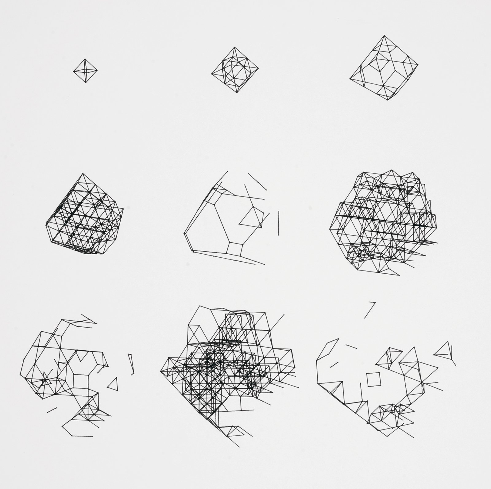 "Paul Brown's plotter drawing ""BIGDIM / 0 10 10 0 0 0 / 200,120 / 11,969"" is an intricate progression and deconstruction of geometric shapes. 1979, from Digital Pioneers.  A Look Inside V&A Pattern by Jordan Kushins"
