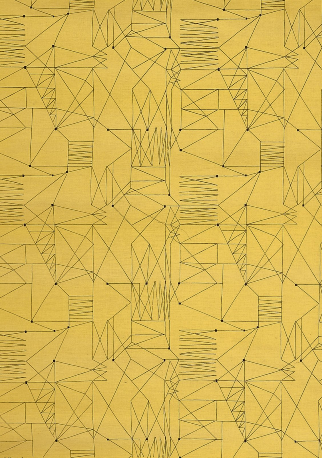 """Graphica"" is a furnishing fabric sample from British textile design maven Lucienne Day for Heal's. 1954, from The Fifties. A Look Inside V&A Pattern by Jordan Kushins"