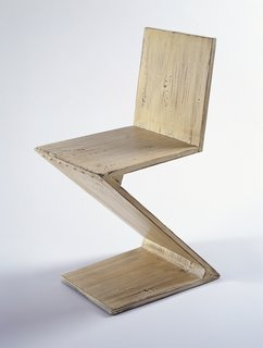 Zig-zag Chair (1934), designed by Gerrit Thomas Rietveld. From the SFMoMA Collection; gift of Michael and Gabrielle Boyd. On display as part of the SFMoMA's 75 Years of Looking Forward: The Anniversary Show exhibit, on view through January 16, 2011.