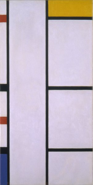 Composition (No. III) Blanc-Jaune (Composition with Red, Yellow, and Blue) (1935-42), painted by Piet Mondrian. From the SFMoMA Collection; purchased through a gift of Phyllis Wattis. On display as part of the SFMoMA's 75 Years of Looking Forward: The Anniversary Show exhibit, on view through January 16, 2011.
