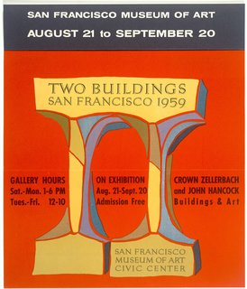 SFMoMA 75th Anniversary Show - Photo 2 of 12 - Two Buildings: San Francisco 1959 exhibition mailer (1959), designer unknown. From the SFMoMA Collection. On display as part of the SFMoMA's 75 Years of Looking Forward: Dispatches from the Archives exhibit, on view through July 6, 2010.
