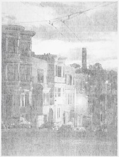 Graphite drawing by Ewan Gibbs depicting San Francisco's Victorians. (2009) Commissioned by the SFMoMA. On display as part of the SFMoMA's 75 Years of Looking Forward: Ewan Gibbs: San Francisco exhibit, on view through June 27, 2010.