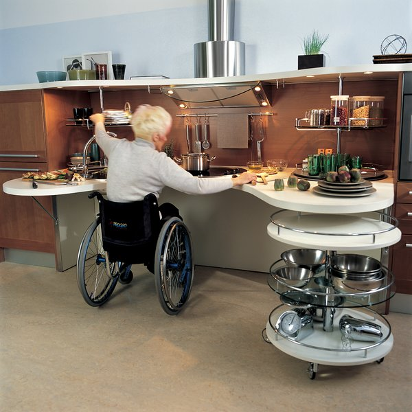 Shown here is the kitchen installed at the Gervasutta Institute of Rehabilitative Medicine, where patients tested it design.