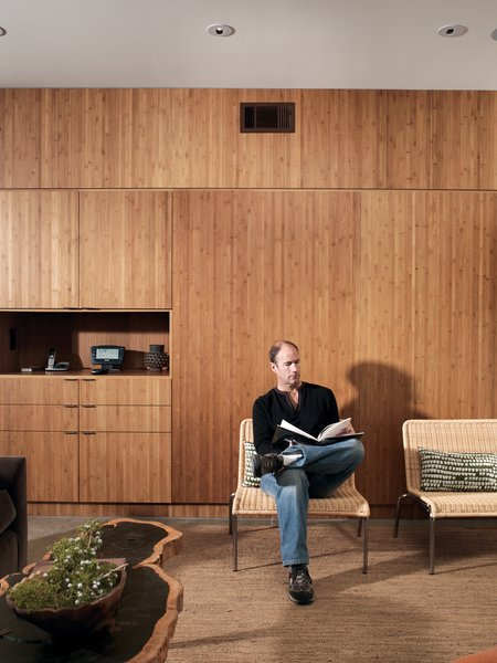 A Plyboo wall divides the interior of the house.