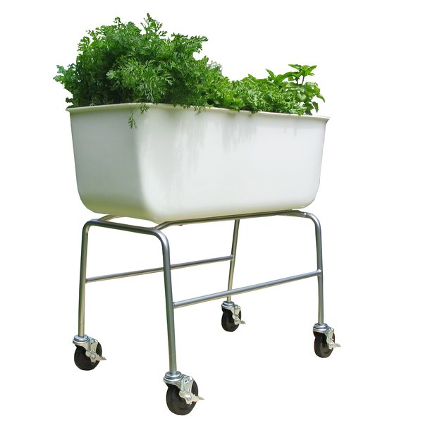 The Food Map Container may look like a bathtub but is the ideal planter. Its lightweight recycled-plastic basin features a contoured drainage system built into the bottom and it sits on a metal-tubing frame and locking rubber casters, which makes moving it a breeze.