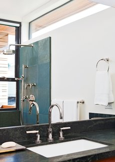 A Modern Coastal Home in Stinson Beach - Photo 7 of 10 - Even the bathroom features narrow ocean views.