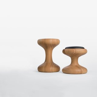 The design of the Mushroom family of stools was function driven: They can <br><br>be seats or tables.
