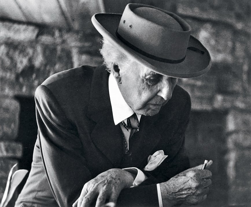 Frank Lloyd Wright at the Reisley House in Usonia, a cooperative housing development in Pleasantville, New York, 1952.  Photo 2 of 8 in An Interview With Frank Lloyd Wright's Photographer Pedro E. Guerrero from Pedro E. Guerrero