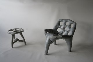 Events this Weekend: 3.18-21 - Photo 2 of 3 - A chair and stool made of poured concrete by Tejo Remy and Rene Veenhuizen, on display in the Hands On exhibition in Washington DC.