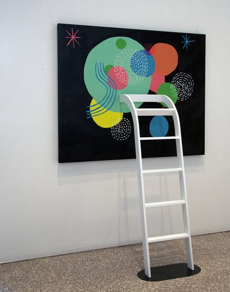 A ladder protrudes out of (or climbs up to) a painting by Perry as part of Lost in the Discovery of What Shapes the Mind, opening March 26 and on display at the Minneapolis College of Art and Design gallery through April 18, 2010. Photo by Caitlin Longley.