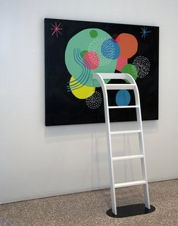 Illustrator Mike Perry - Photo 5 of 9 - A ladder protrudes out of (or climbs up to) a painting by Perry as part of Lost in the Discovery of What Shapes the Mind, opening March 26 and on display at the Minneapolis College of Art and Design gallery through April 18, 2010. Photo by Caitlin Longley.