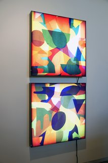 Illustrator Mike Perry - Photo 8 of 9 - Paintings by Perry on view as part of Lost in the Discovery of What Shapes the Mind, opening March 26 and on display at the Minneapolis College of Art and Design gallery through April 18, 2010. Photo by Caitlin Longley.