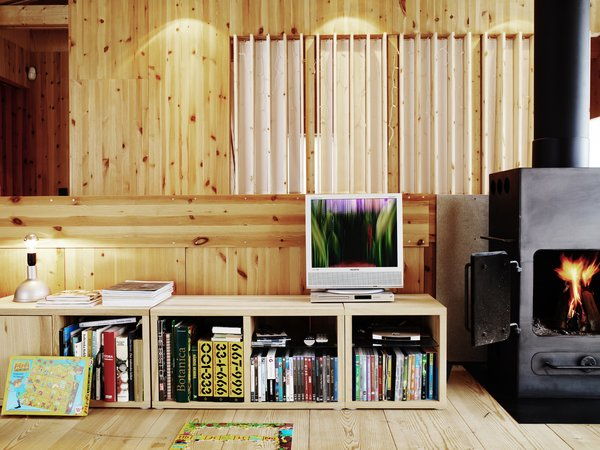 Exposed pine boards dominate the interior, giving a subtle, warm backdrop to the splashes of color that his stove and collection of books provide.