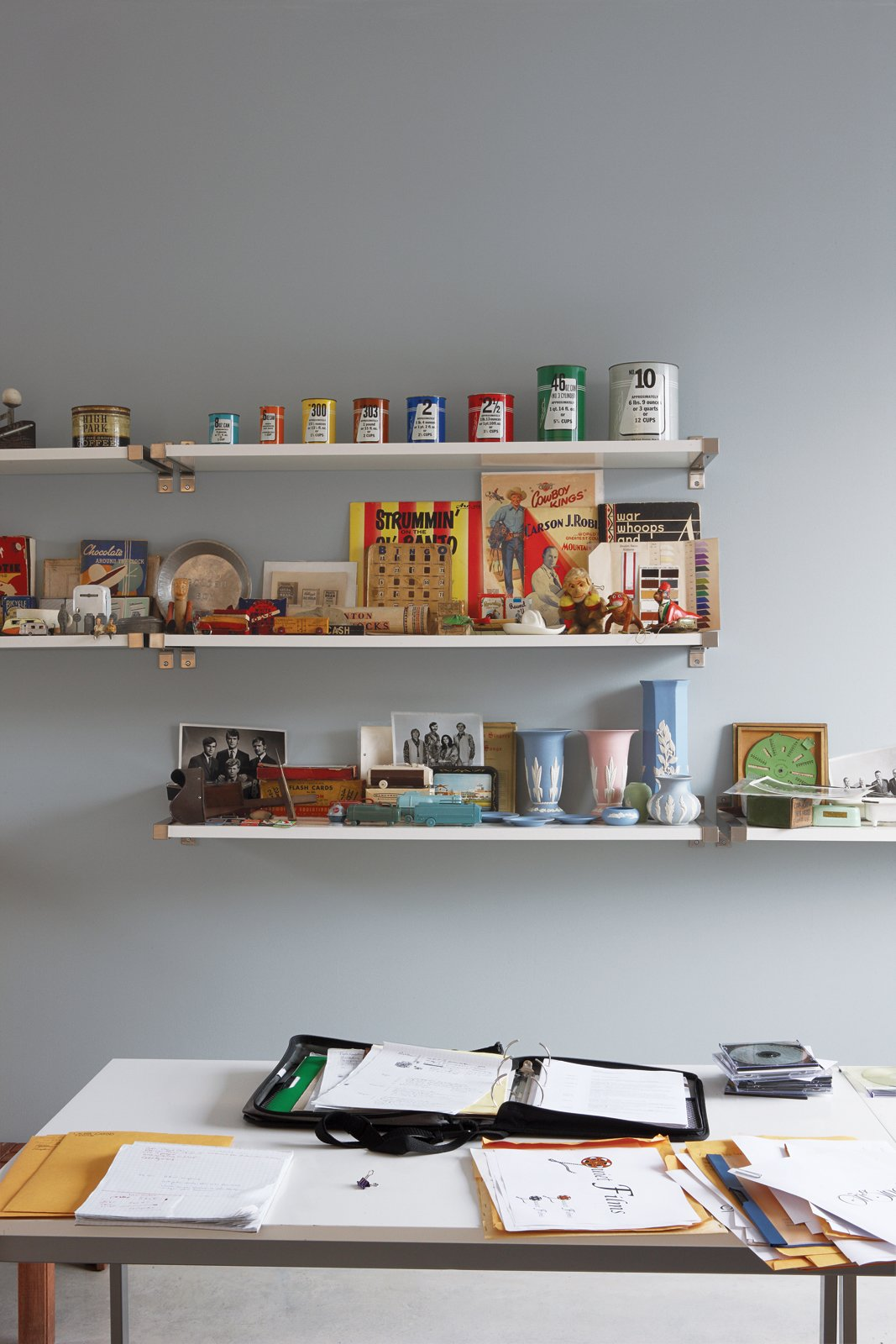 In the upstairs studio Adams draws inspiration from collections of salesmen's sample cans, Canadian early-20th-century ceramics, and Electrolux vacuum-cleaner piggy banks. From Brown to Green - Photo 5 of 8