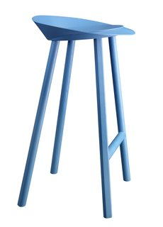 Milan 2010 in Color - Photo 2 of 12 - Designer Stefan Diez expanded upon his already illustrious collaboration with e15 this year, introducing a handful of new items. The Jean stool is made of oak-veneered plywood and comes clear-lacquered or, as seen here, in bold berry blue.