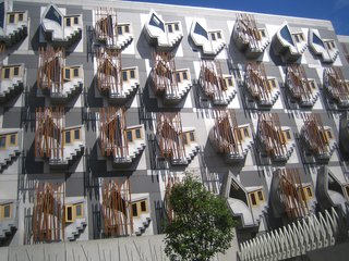 A series of Thinkpods on the back of the Scottish Parliament building by Eric Miralles.