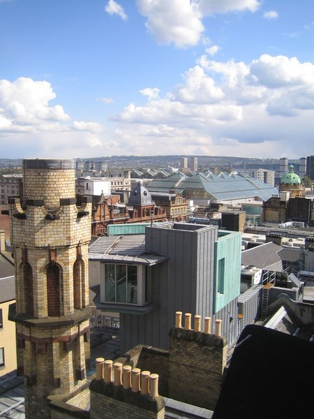 From the Mackintosh tower at the Lighthouse you can see all over the city. Here you get a sense of it while also getting a look at the yellow tower in the foreground (a former chimney meant to evoke the husk or stalk of a flower) and the Page/Park viewing platform just beyond it.