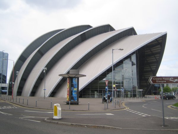 The concert hall by Sir Norman Foster which is now widely known as the Armadillo.