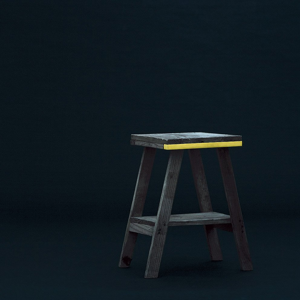 This little bench gets a healthy dose of ornamentation: a golden strip that sings against its wooden backdrop.  Prostheses and Grafts by Aaron Britt