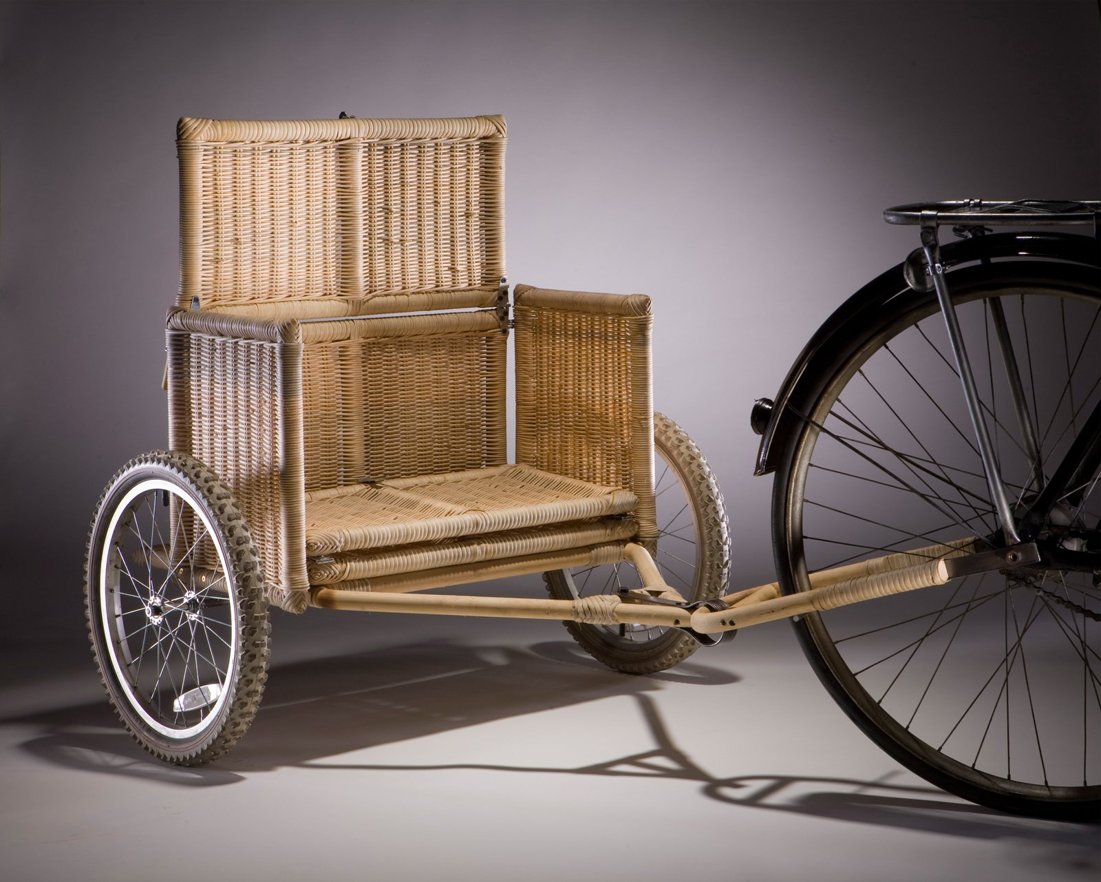 Samarth Bicycle Trailer, prototype. Radhika Bhalla (Indian, b. 1983). Designed United States, deployed India, 2008–present. Locally sourced bamboo, rattan, iron, jute, coconut fiber, wheels. Photo: Vahe D'Ala  Bicycle, Bicycle by Aileen Kwun from Why Design Now?