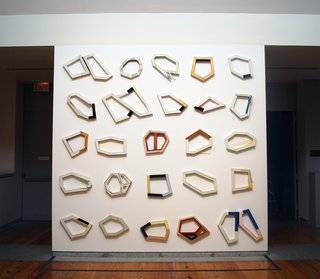 Division and Discovery - Photo 7 of 7 - Segments [installation of 25 pieces], oil and enamel on pine, by Frederick Lynch