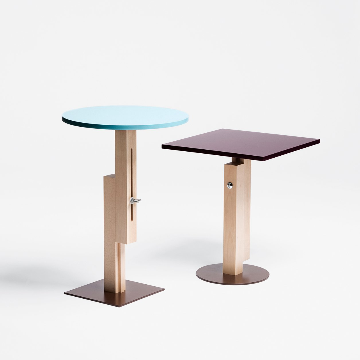 Konstantin Grcic's first releases, in 1991, were the Tom Tom and Tam Tam side tables for SCP. They were re-released in 2009 with sliding mechanisms on their support columns. The result? Adjustable height built in.