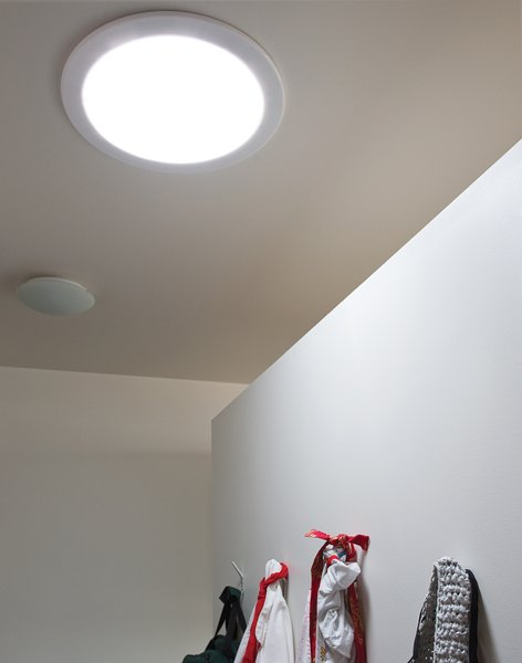 To draw light into windowless interior rooms, Mooney and Sparano installed Solatube Daylighting Systems.