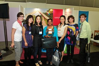 coolcapitals Competition Winners - Photo 1 of 4 - Dwell judges alongside Friday's winner Ayanthi Fernand (holding the Wacom Intuos4 tablet) and other contestants.