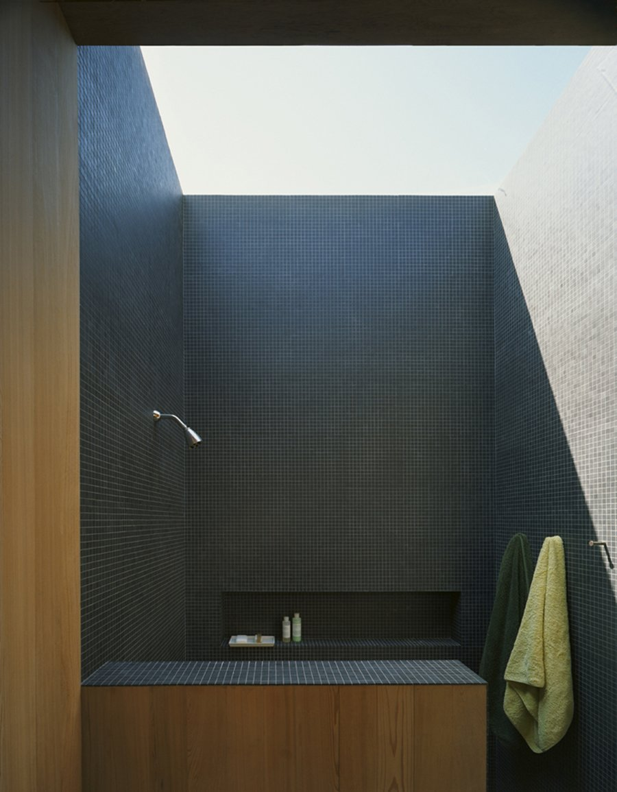 The house was conceived as a summer home, to take advantage of the sounds, breezes, views and lighting – even in the shower. Courtesy Architects and Artisans.  Shelter Island Retreat by J. Michael Welton