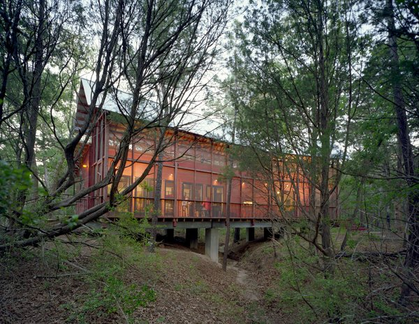 A screen porch runs the entire length of building, built over a dry creek bed on embedded concrete piers. The architect says he worked with the varying topography and native pines, turning the building 30 degrees at one point to accommodate the natural contours of the land. Photo  of Texas Bunkhouse modern home