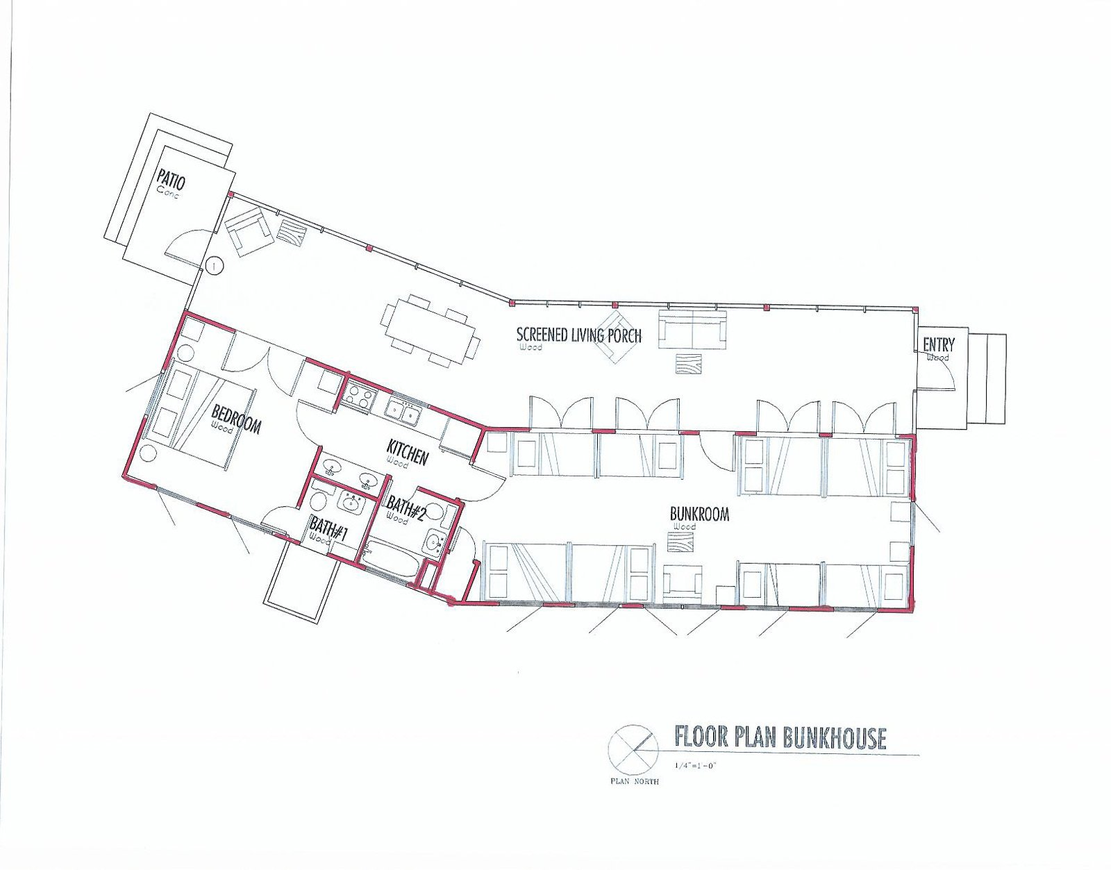The floor plan exemplifies the thin proportions of the bunkhouse, and its 30-degree turn. The bunkroom measures just over 800 square feet, and the screen porch, around 600. Image courtesy Henry Panton.  Texas Bunkhouse by Erika Heet
