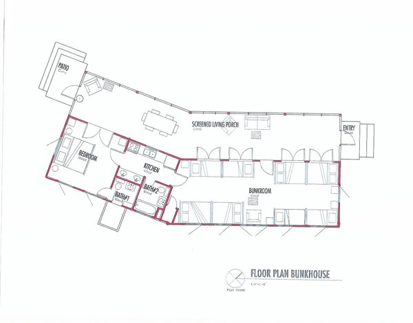 The floor plan exemplifies the thin proportions of the bunkhouse, and its 30-degree turn. The bunkroom measures just over 800 square feet, and the screen porch, around 600. Image courtesy Henry Panton. Photo 15 of Texas Bunkhouse modern home