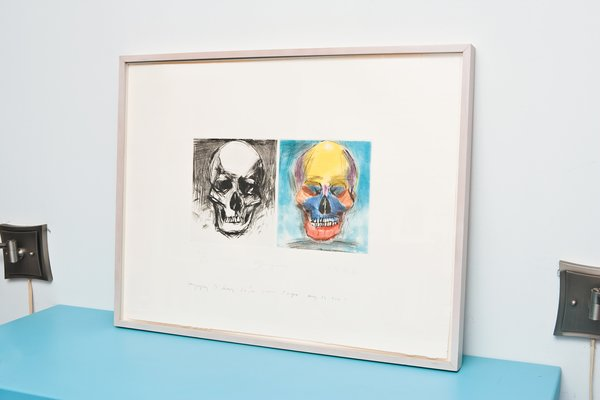 The loft is full of pieces by Dine's father, pop and neo-expressionist artist Jim Dine. Skulls are a recurring motif in his artworks.