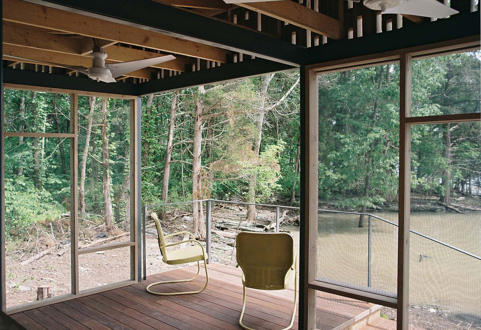 Shelton's architect, Brandon Pace,designed and fabricated cedar panels backed with insect screens that snapped to the pavilion's steel structure, allowing assembly to be completed on site in just three days. Read the full story here. How to Build an Off the Grid Cabin - Photo 2 of 4