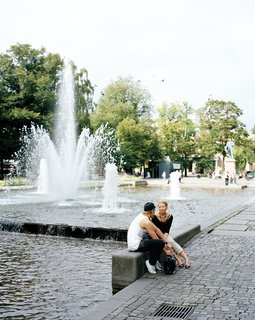 The pool and fountains of Eidsvoll Square, a greensward that runs parallel to Oslo's grand boulevard Karl Johans gate.
