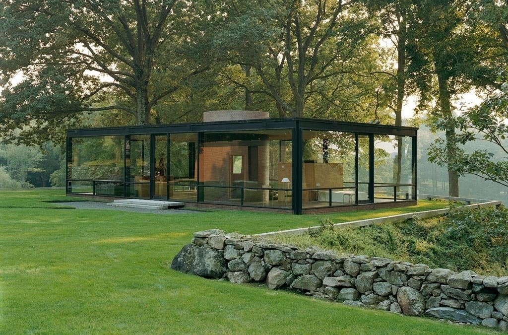 The house that started it all: Philip Johnson's Glass House in New Canaan. He and David Whitney used to invite great minds from the architecture, design, and art worlds to the house for evenings of discussion and debate. When the Glass House opened to the public in 2007, its programmers continued the invite-only tradition.  Photo 3 of 3 in Elaine Lustig Cohen Scarf for Hermes from Glass House Conversations