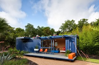 9 Small Spaces With  Color - Photo 1 of 9 - In the hands of Texas architect Jim Poteet, this blue steel shipping container becomes a guesthouse for visiting artists in San Antonia.
