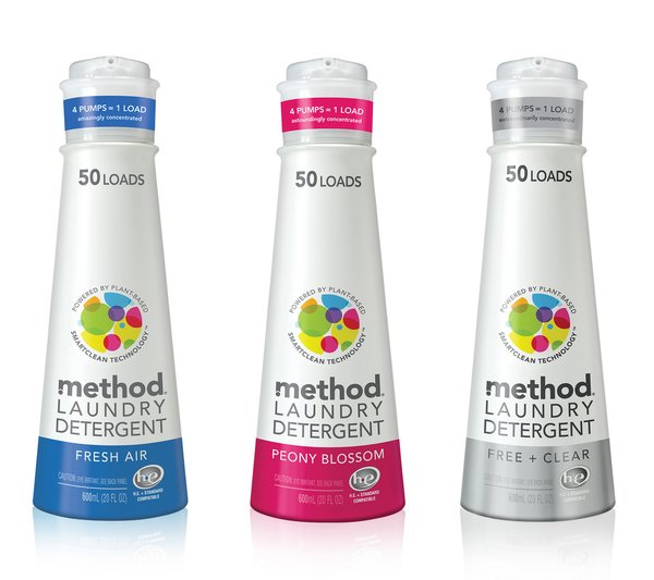 Thanks to an ultra concentrated formula, Method designed a teeny package that requires less energy to produce and creates less waste. The bottle uses over 36% less plastic compared to traditional 2x detergents and 50% of that comes from recycled plastics.
