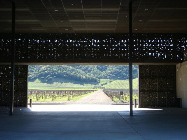 Upon entering the winery, visitors are met with a minimalist hall and an unobstructed route through the structure. Tagged: Outdoor, Trees, Shrubs, and Field.  Photo 4 of 9 in The Stealth Winery