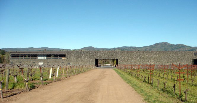 The rear facade of the winery.